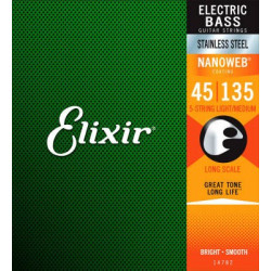 Elixir 14207  5-String Light/Medium, Long Scale .045 - .135Electric Bass Nickel Plated Steel With Na