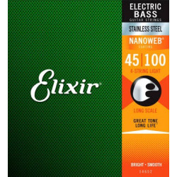 Elixir 14052 4-String Light, Long Scale  Electric Bass Nickel Plated Steel With Nanoweb Coating