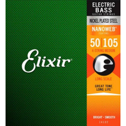 Elixir 14087  4-String Medium, Long Scale Electric Bass Nickel Plated Steel With Nanoweb Coating