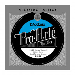 D'Addario BNH-3B Pro-Arte 80/20 Bronze on Nylon Core Classical Guitar Half Set, Hard Tension