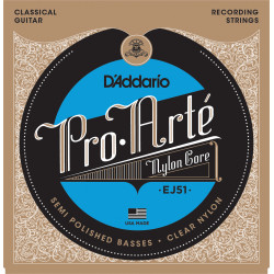 D'Addario EJ51 Pro-Arte Classical Guitar Strings with Polished Basses, Hard Tension