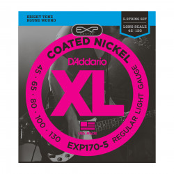 D'Addario EXP170-5 Coated 5-String Bass Guitar Strings, Light, 45-130, Long Scale