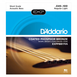 D'Addario EXPPBB170S Phosphor Bronze Coated Acoustic Bass Strings, Short Scale, 45-100