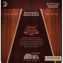 D'Addario NB13556BT Nickel Bronze Acoustic Guitar Strings, Balanced Tension Medium, 13.5-56