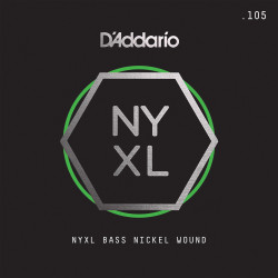 D'Addario NYXLB105, NYXL Nickel Wound Bass Guitar Single String, Long Scale, .105