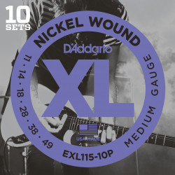 D'Addario EXL115-10P Nickel Wound Electric Guitar Strings, Medium/Blues-Jazz Rock, 11-49, 10 Sets