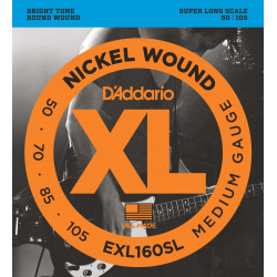 D'Addario EXL160SL Nickel Wound Bass Guitar Strings, Medium, 50-105, Super Long  Scale
