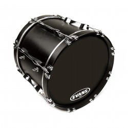 Evans MX1 Black Marching Bass Drum Head, 26 Inch
