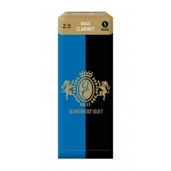 Rico Grand Concert Select Bass Clarinet Reeds, Strength 2.5, 5-pack