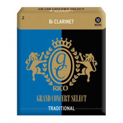 Rico Grand Concert Select Traditional Bb Clarinet Reeds, Strength 2.0, 10-pack